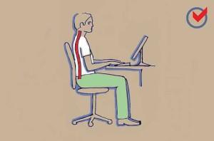 Helyes ülés a számítógép előtt
